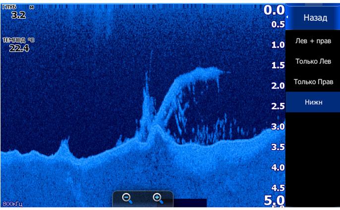 Подводная коряжка и стайка рыбы за ней - скриншот с экрана Lowrance HDS-7 Gen2 Touch