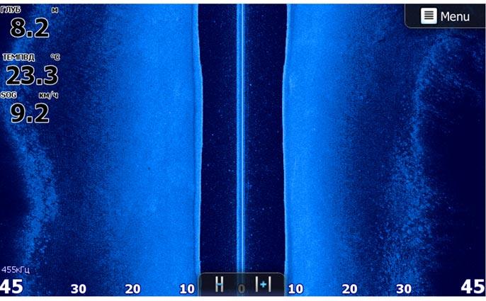 Неширокую протоку (90м.) (р. Кривуша в Самарской области) боковой сканер позволяет просматривать полностью