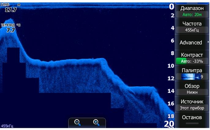 Интересный рельеф подводного дна - скриншот с экрана эхолота Lowrance HDS-7 Gen2 Touch