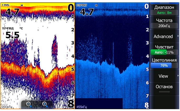 Изображение стайной рыбы на экране сонара и DSI - скриншот с экрана эхолота HDS-7 Gen2 Touch