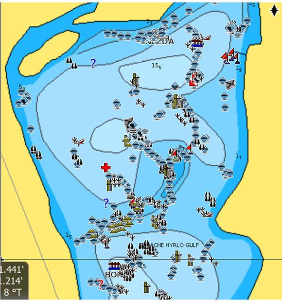 Залив Собачье гирло - карта из точек